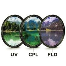 49mm 52mm 55mm 58mm 62mm 67mm 72mm 77mm uv + cpl fld 3 em 1 conjunto de filtro de lente com saco para canhão nikon sony lente da câmera
