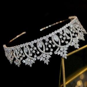 Image 5 - Vintage Baroque Crystal tiara Wedding Hair Accessories High Quality Bridal Zirconia Crown Wedding Dress Pairing Accessories