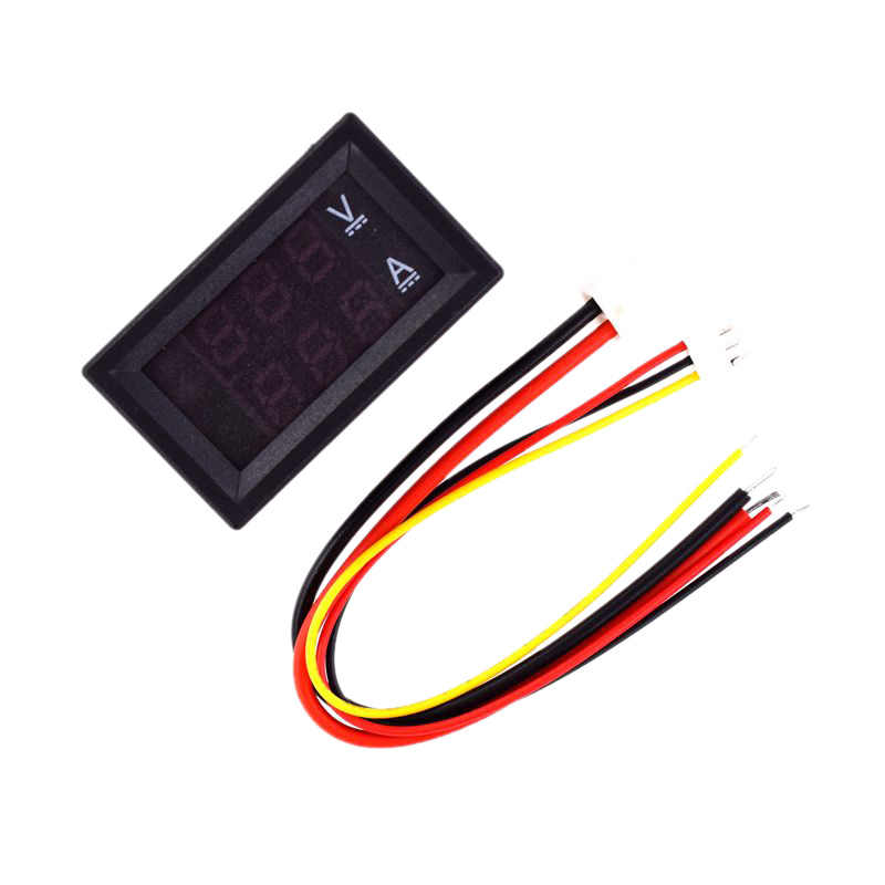DC 0-100V 100A voltmètre numérique ampèremètre double affichage détecteur de tension compteur de courant panneau ampèremètre 0.28 pouce 1 rouge bleu L