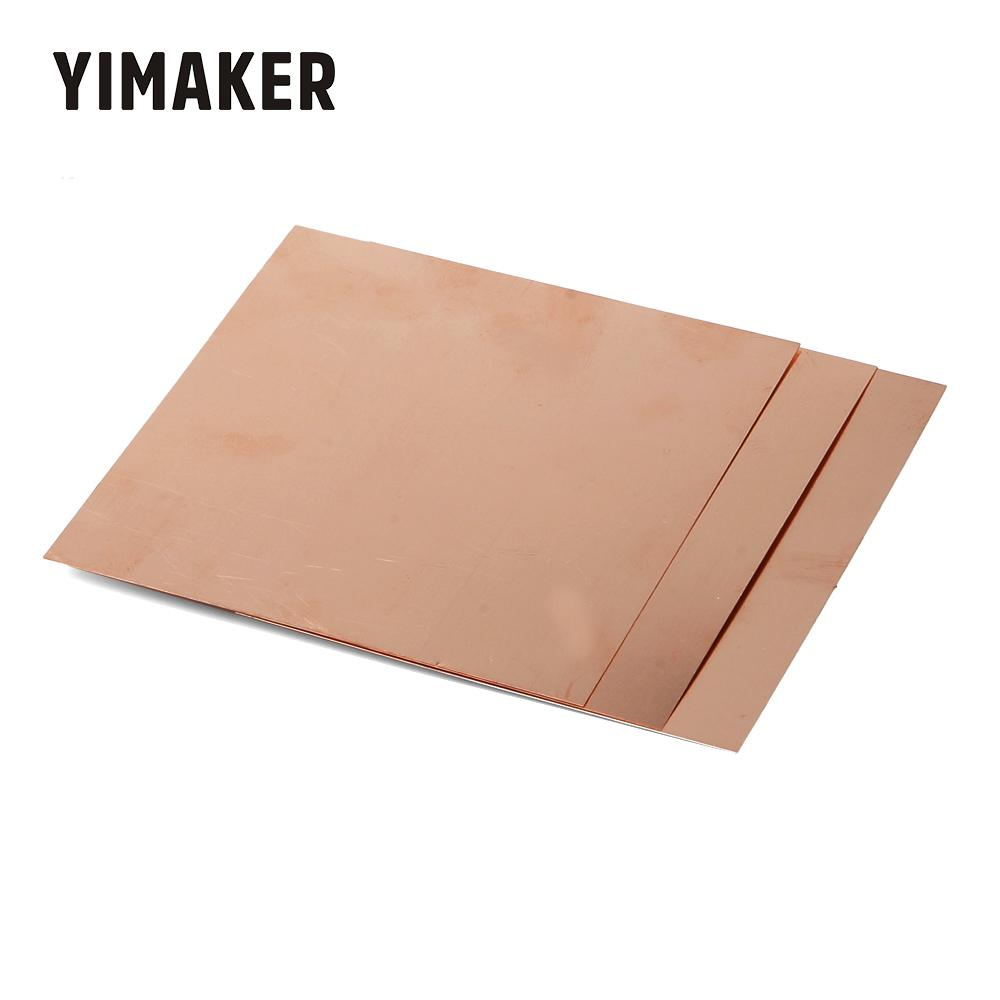 YIMAKER 1pc 1.5mm*100mm*100mm 99.9% Pure Copper Sheet Plate Guillotine Cut Metal Copper Sheet For DIY