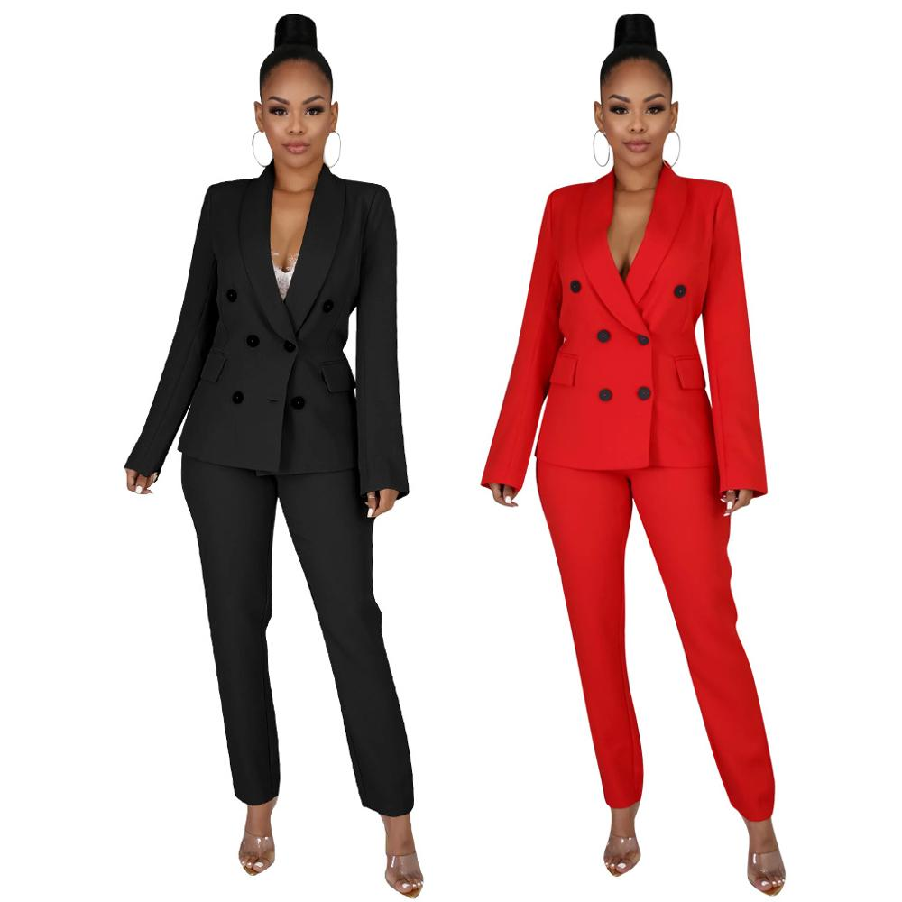 Women Pantsuit Blazer And Pants Set Elegant Formal Office Suit Jacket Trousers Business Female Black Red Plus Size