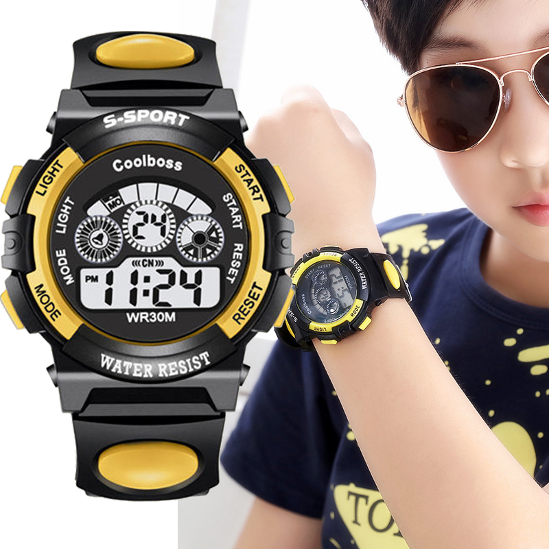 COOLBOOS Children's Digital Watch Sport Wrist Watch Boy Clock Waterproof Silicone Strap Big Dial Fashion Simple Kid Watches