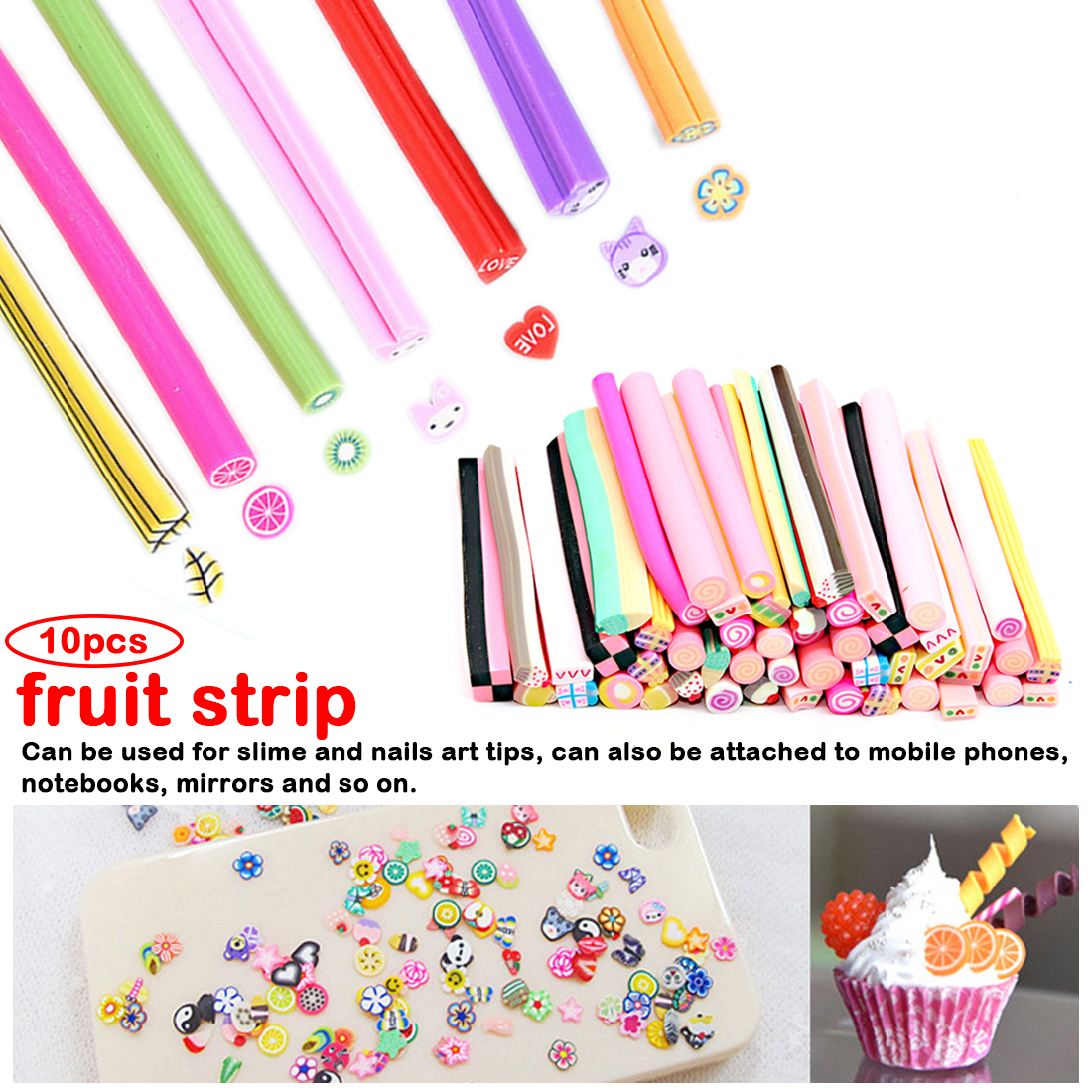 10pcs/lot  Fruit Slices For Slime Supplies/Nails Art Tips Clay Artificial Fruit Slices Sticks Slimes Toys DIY