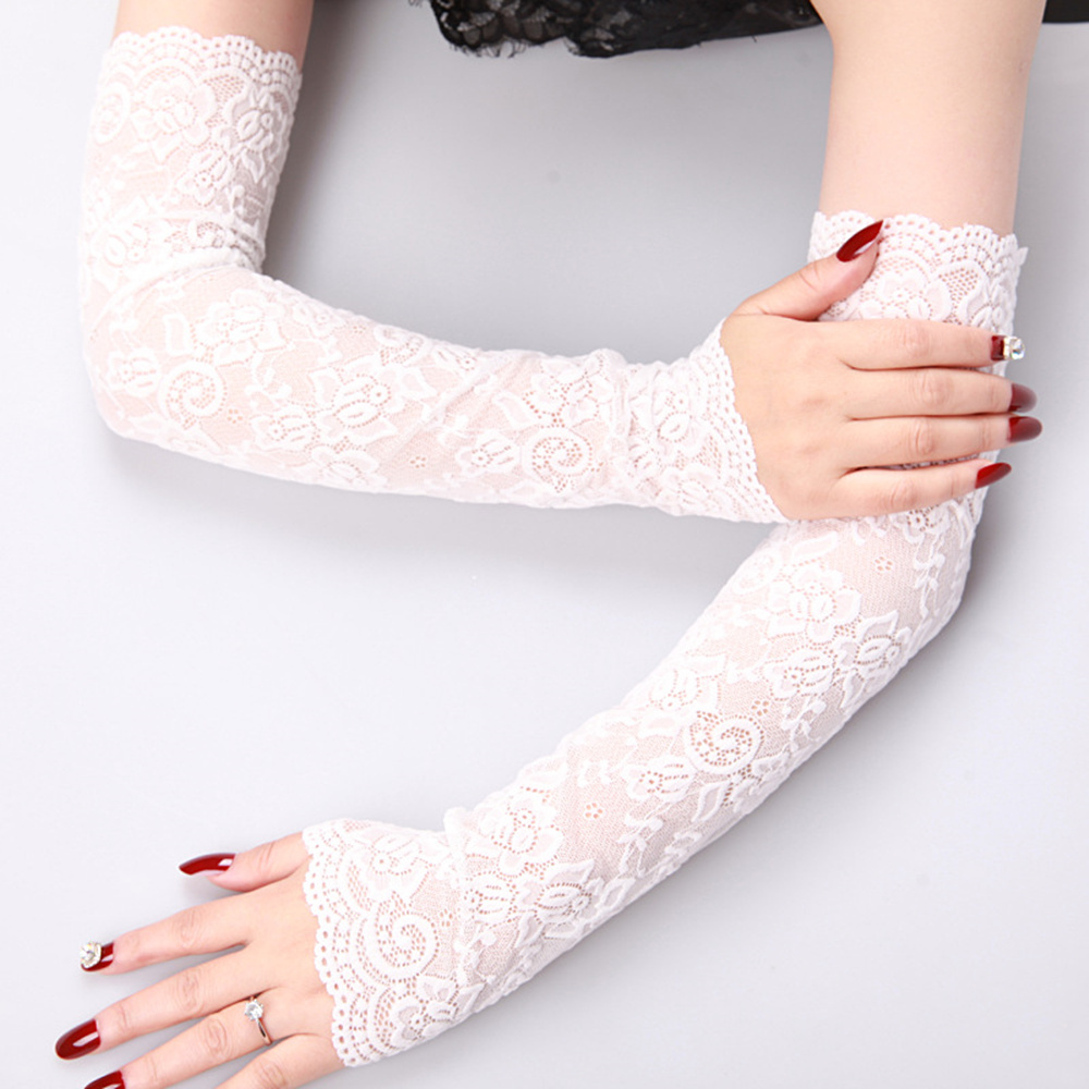 Women Summer Sun Protection Lace Gloves Mesh Lace UV Thin Long Sleeve Breathable Cycling Gloves Driving Arm Warmer Scar Cover