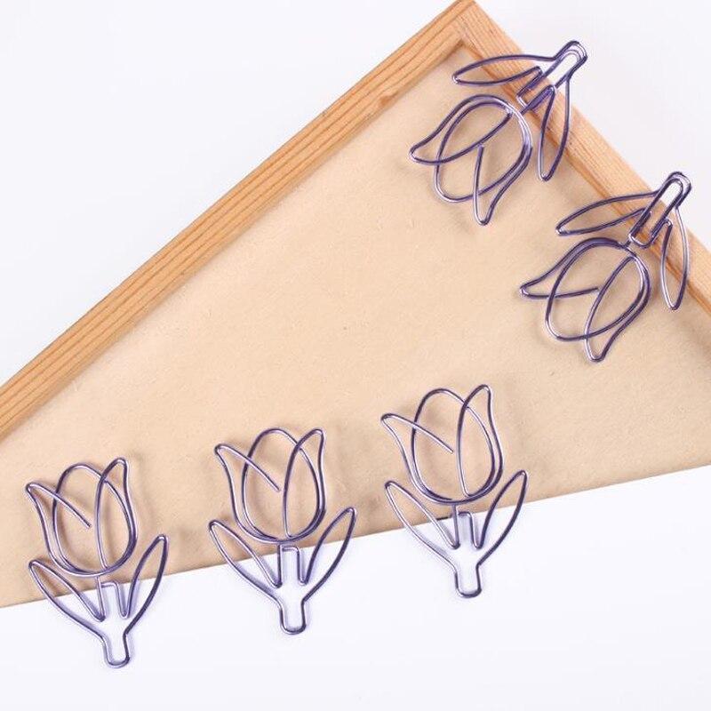 12 Pcs/box Cute Purple Tulip Flower Hollow Out Paper Clips Bookmark Stationery Escolar Papelaria Diary Album Memo Paper Clips