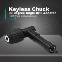 90 Degree Right Angle Keyless Chuck Cordless Impact Drill Adapter Attachment 8mm Hex Shank