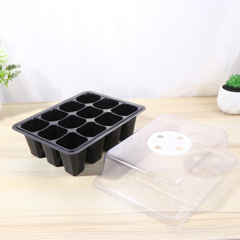 2 Sets of Seedling Trays 12 Cells Breathable Plastic Durable Plant Seed Flower Planter Nursery Pot