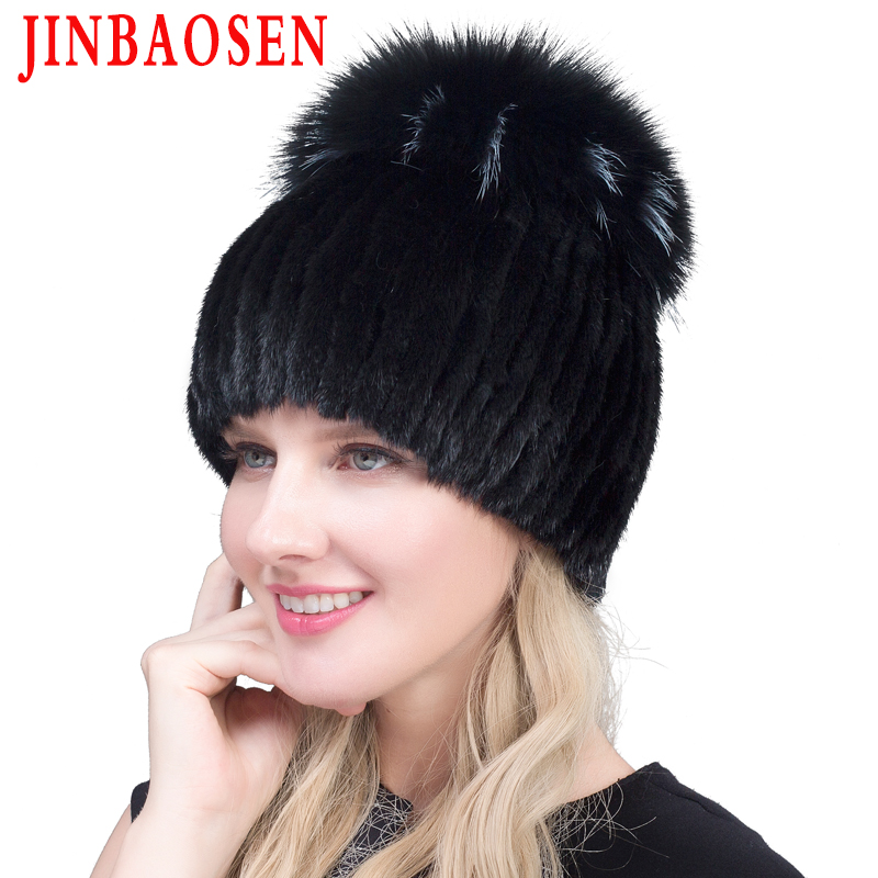 JINBAOSEN 2019 Hot Sale Fashion Winter Warm Women Knit Caps Mink Hats With FOX Fur Vertical Woven Top