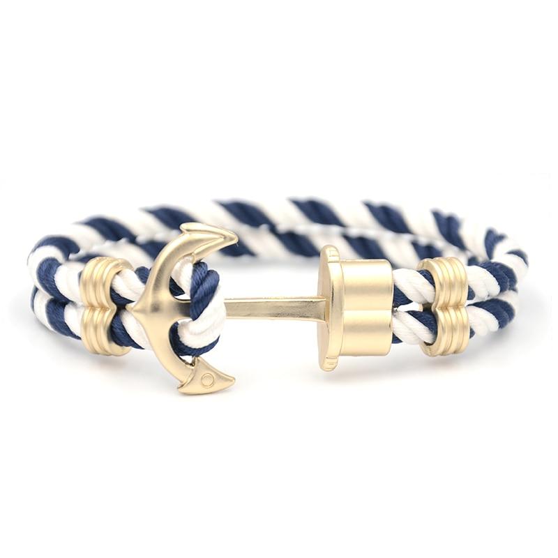 JUNWEI Men Anchor Bracelet Made of Nylon in Navy Blue-White und Anchor Made of Brass