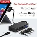 Концентратор AJIUYU USB 3,0 для Microsoft Surface Pro 4 5 6 HDMI 4K DP VGA Аудио гигабитный Ethernet адаптер RJ45 SD/TF док-станция для ПК