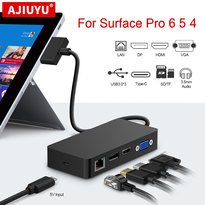 AJIUYU <font><b>USB</b></font> <font><b>3.0</b></font> <font><b>HUB</b></font> For Microsoft Surface Pro 4 5 6 <font><b>HDMI</b></font> 4K DP <font><b>VGA</b></font> Audio Gigabit Ethernet adapter <font><b>RJ45</b></font> SD/TF DocKing base Dock PC image