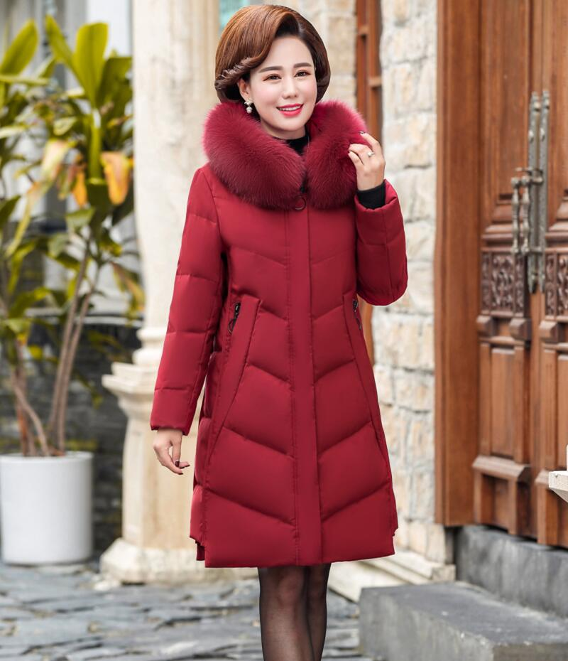 Plus Size   Down   Jacket Women Winter 2019 New Winter   Down     Coat   Women Long Slim Big Fur Collar Thickening Warm Mother Clothing Red