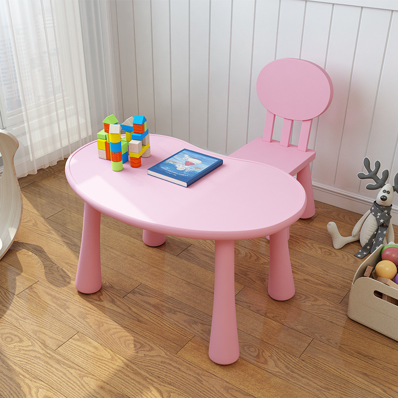 81*56*49cm Peas Type Kindergarten Desk Children Studying Desk Kid's Learning Table With Round Back-rest Chair