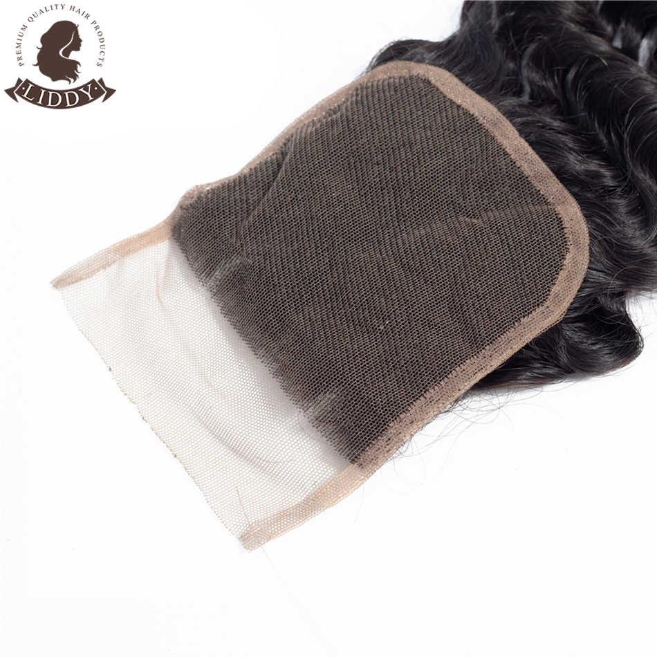 Liddy Diepe Golf 4X4 Vetersluiting 100% Menselijk Haar Sluiting Peruaanse Haar Weven Natuurlijke Kleur Niet Remy haar Frontale Sluiting