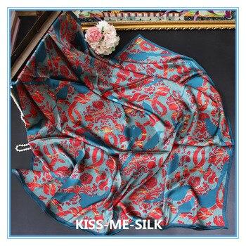 KMS Peacock Flame Nirvana Rebirth Blue Tone  Big Silk Scarf Shawl for Girl Lady Woman 110*110cm/60g