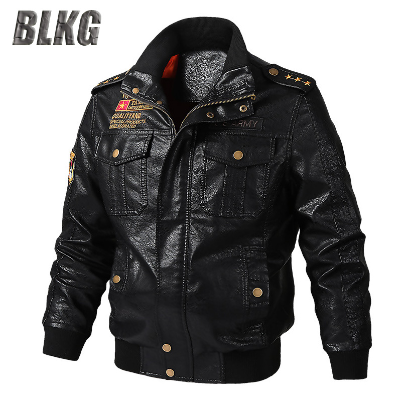 BLKG Spring Motorcycle Leather Jacket Men PU Faux Leather Coat Stand Collar Solid Military Jackets Coats Chaqueta Cuero Hombre