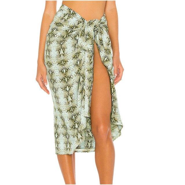 Women Swimsuit Cover Up Printed Mesh Bikini Swimwear Beach Cover-ups Beach Dress Wrap Skirt Парео Для Пляжа 2