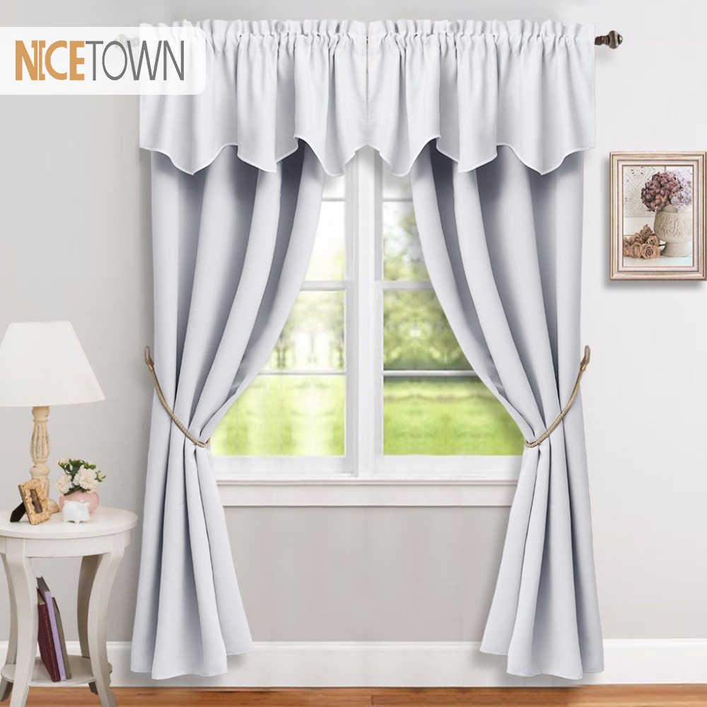 6 Pieces Blackout Curtains & Valances Thermal Insulated Modern Style Drapes  for Bedroom Livingroom 6 Curtains & 6 Valance