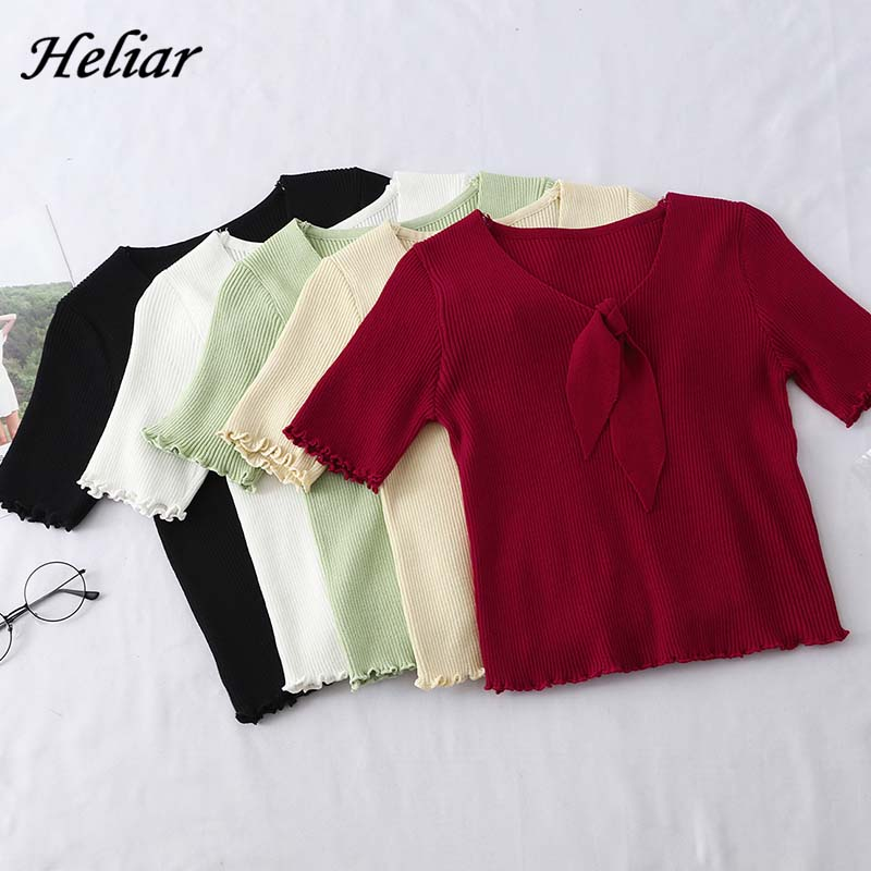 Heliar Women Bow Neck Cardigans Solid Loose Knitting Short Sleeve Sweater Preppy Campus Crochet Elegant Sweater Women Cardigans