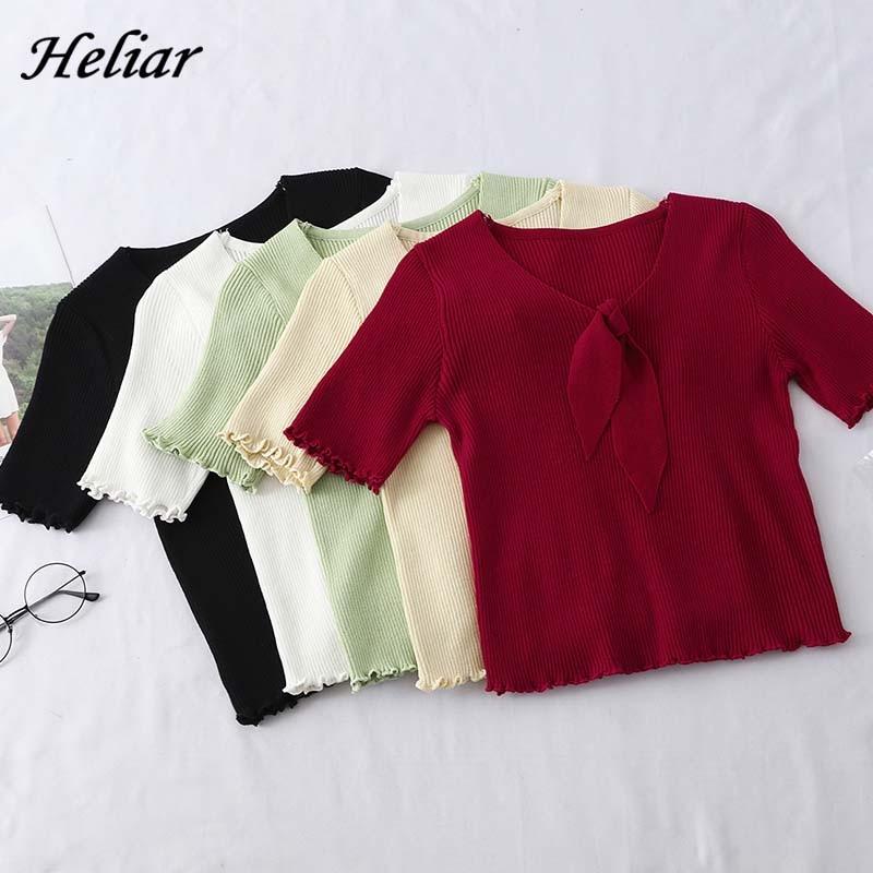 Heliar Women Bow Neck Cardigans Solid Loose Knitting Short Sleeve Sweater Preppy Campus Crochet Elegant Sweater Women Cardigans