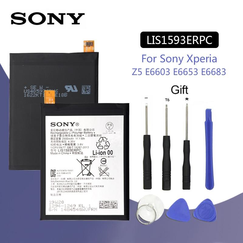 SONY LIS1593ERPC Originais 2900mAh Bateria Do Telefone Para Sony Xperia Z5 E6633 E6683 E6603 E6653 Batteria de Substituição + Ferramentas Gratuitas