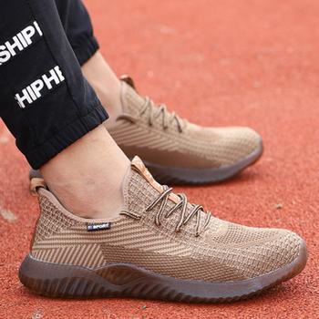 DROPSHIPPING mężczyźni stalowe Toe buty buty robocze bhp buty męskie jesienne anty-zgniatanie buty robocze bhp budowlane ochronne Sneake tanie i dobre opinie BYDBXDY Pracy i bezpieczeństwa Mesh (air mesh) ANKLE Stałe Dla dorosłych Jedwabiu Okrągły nosek RUBBER Wiosna jesień