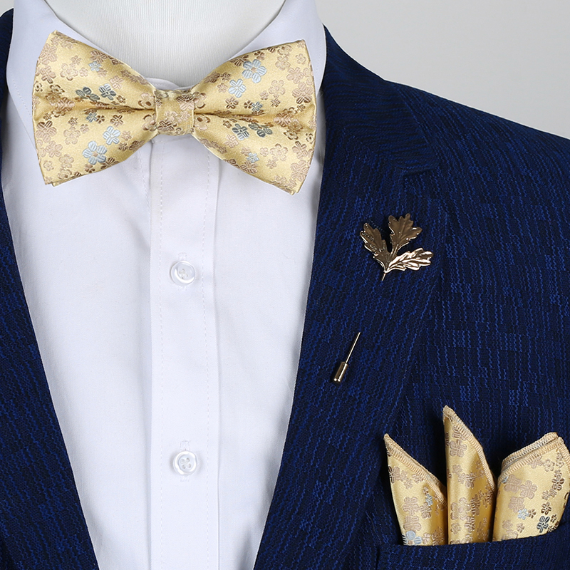 Classic Gold Bow Ties For Men Silk Butterfly Pre-Tied Floral Bow Tie Handkerchief Brooch Set Wedding Party Yellow Mens Bow Tie