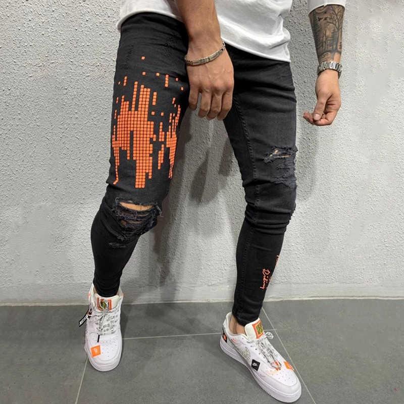 Usa rozmiar mężczyźni Streetwear drukowane cyfrowo kolana zgrywanie Skinny Jeans zniszczone wydrukowano hip-hop biker biegaczy spodnie jeansowe