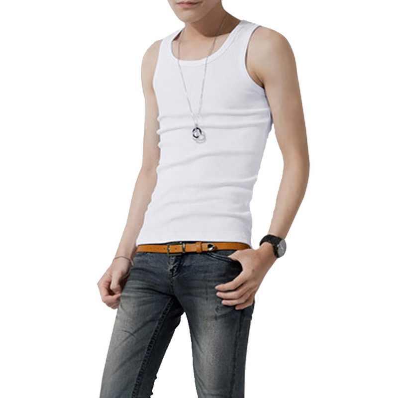 Atasan Tanpa Lengan Baru 2020 Populer Musim Panas Solid Mens Tank Top Kemeja Pakaian Olahraga Bernapas Kebugaran Rompi Kaus Dalam Pria Rompi Pria