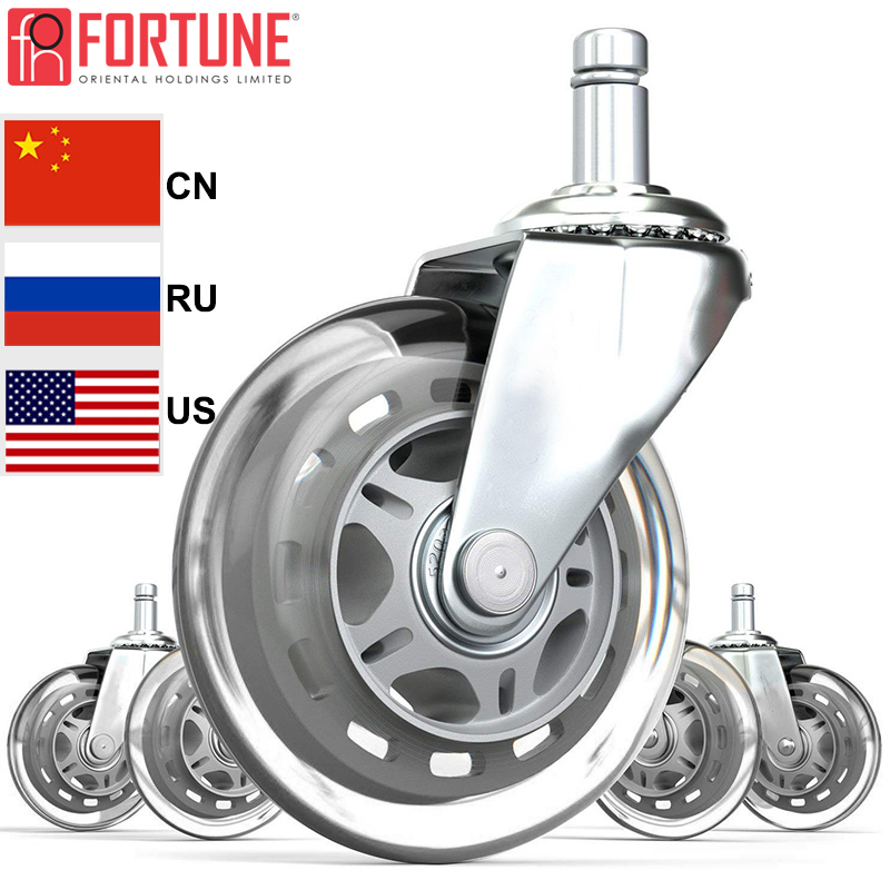 New 5 Pieces Furniture Castors Rubber Wheels For Office Chairs Universal Mute Heavy Duty Casters Wheels For Office Chair Rollers