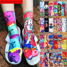 Downstairs 6pairs/lot 3D Print Cute Meias Fashion Funny Low Cut Ankle Short Art Kawaii Sox Harajuku Hip Hop Novelty Socks Women