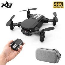 Xkj 2021 novo mini drone 4k 1080p hd câmera wifi fpv pressão de ar altitude preensão preto e cinza dobrável quadcopter rc brinquedo dron