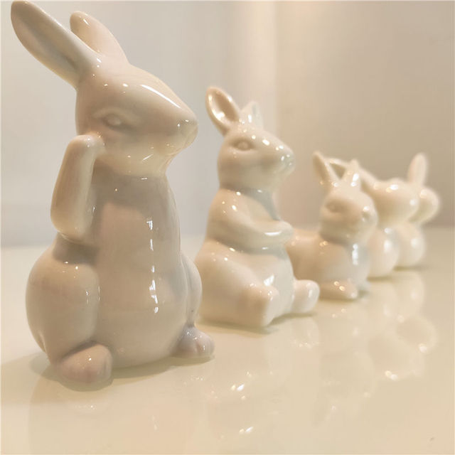 Ceramic Cute Pure White Rabbit Figurines Porcelain Table Home Decoration China Gift Modern Statue Handmade furnishings DHYY05 2
