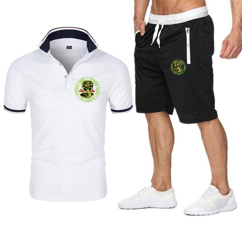 2021 лето новый стиль Кобра Кай мужской костюмный Поло-Strike первого удара жесткий без футболка с надписью Мерси шорты + футболка-поло для девоч...