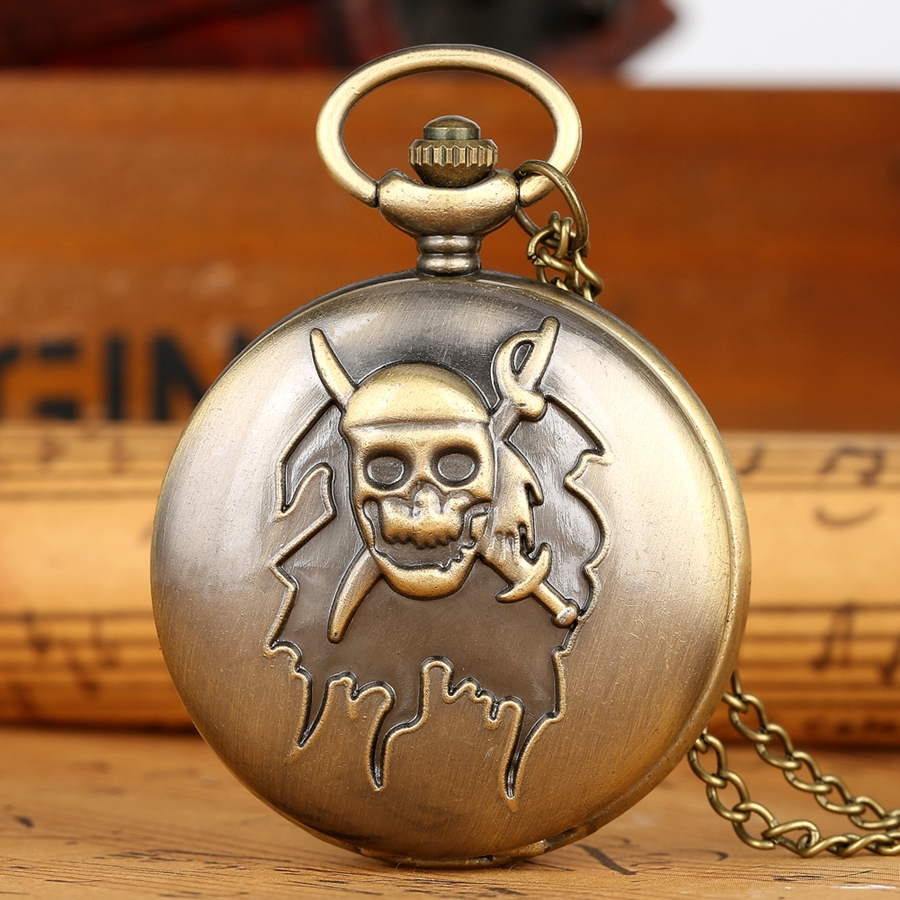 Bronze Pirate Skull Cross Sword Quartz Pocket Watch Necklace Pendant FOB Chain Clock Gifts For Kids Men Women Reloj De Madera