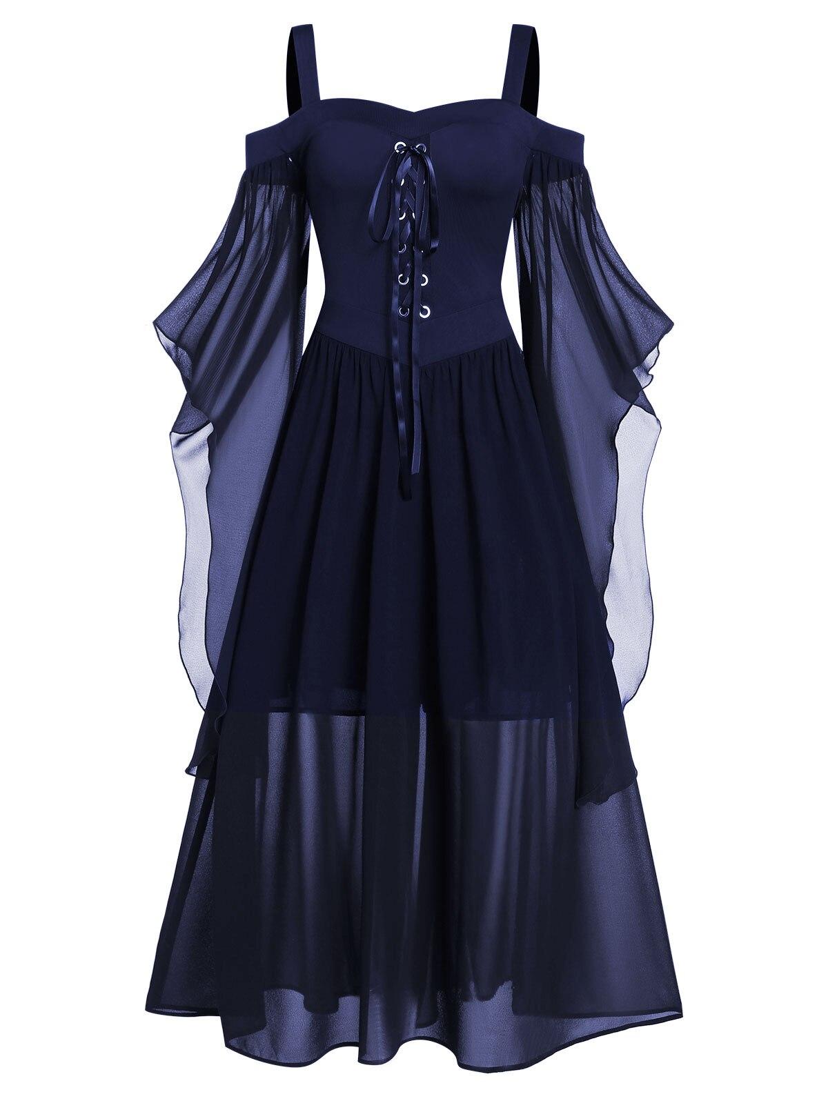 Rosegal 5XL grande taille Maxi robe froide épaule papillon manches à lacets robe d'halloween gothique fête femmes robe Vintage - 2