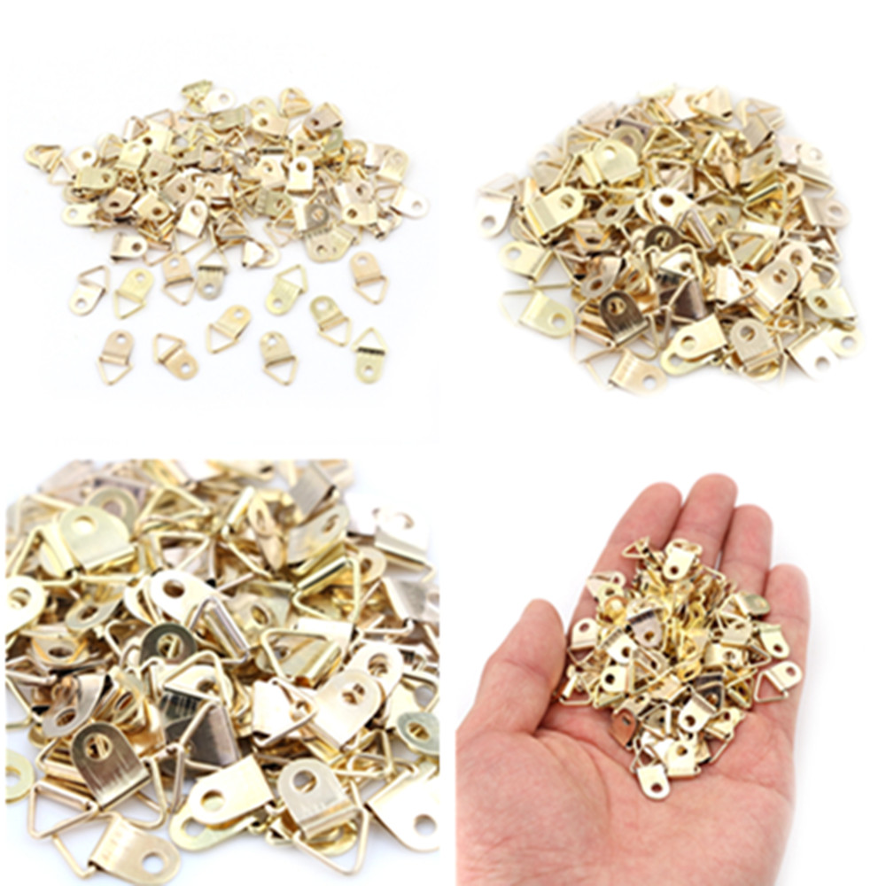 100 Pcs Golden Triangle D-Ring Hanging Picture Oil Painting Mirror Frame Hooks Hangers