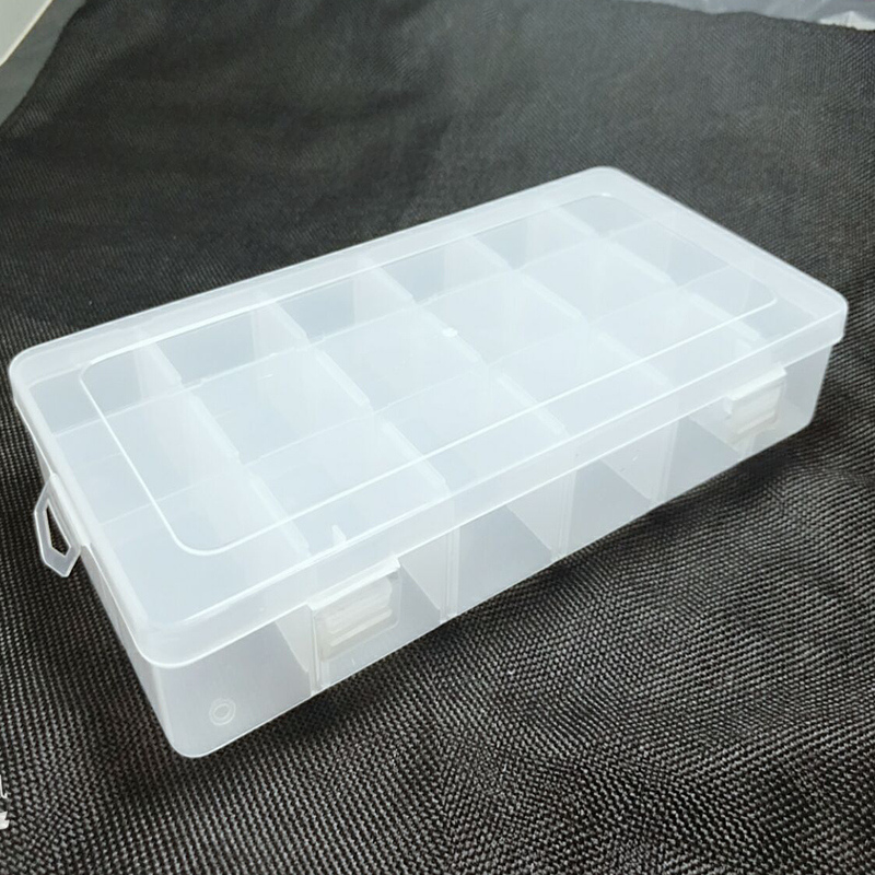 1PC Transparent Plastic Rectangle 18 Lattice  Storage Box Earring Ring Jewelry Bin Bead Case Container Candy Storage