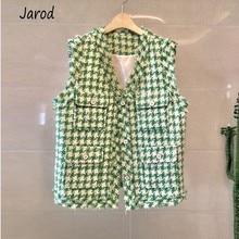 New 2019 Autumn Winter small fragrance green plaid Tweed sleeveless women's jack