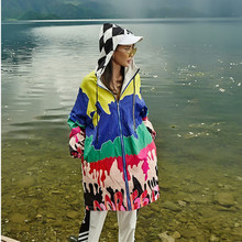 2019 new women trench coat fashion camouflage print oversize loose hooded zipper long outwear