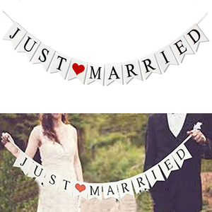 Image 1 - Just Married Banner Mr Mrs Rustic Garland Wedding Table Decoration Groom Bride To Be Balloon Banner Bachelorette Party Supplies