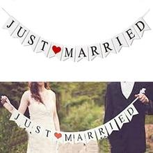 רק נשוי באנר Mr Mrs כפרי זר חתונת שולחן קישוט חתן כלה להיות בלון באנר רווקות ספקי צד