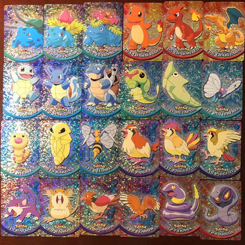 46Pcs/Set Pokemon Replica Flash Card First Batch Combat Collection Card Kids Toy Gift
