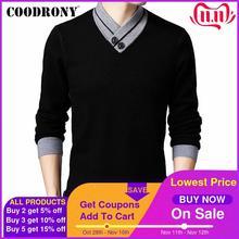 COODRONY Pull de marque pour hommes, Pull en laine cachemire, épais et chaud, bouton col roulé, Pull hauts automne, hiver 91113