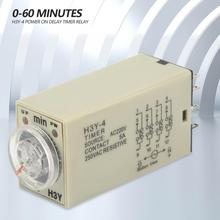 цена на H3Y-4 AC Time Relay 220V 5A Power On off Delay Timer Relay 0-60 Minutes Time Relay module