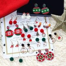 DREJEW Christmas Tree Santa Claus Reindeer Plush Statement Dangle Earrings Sets New Year Gift Alloy Drop Earrings for Women E836 christmas tree drop earrings
