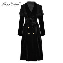 MoaaYina-abrigo cortavientos de manga larga con doble botonadura, abrigo cortavientos de terciopelo negro