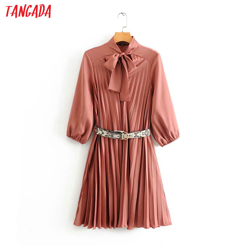 Tangada Fashion Women Pink Pleated Midi Dress With Leopard Belt Bow Neck Long Sleeve Ladies Vintage Chiffon Dress Vestidos 3A19