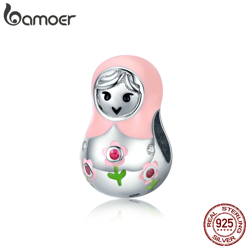 Bamoe Enamel Charm For Jewelry Making Russian Dolls Charm Bracelet Silver 925 Original Breloque Valentines Day Gift SCC1435