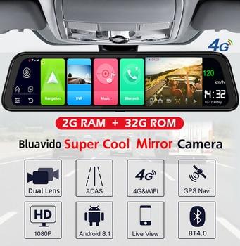 Bluavido 4G Android 8.1 Car DVR Camera GPS 12-in Rearview mirror 2G RAM dash cam HD 1080P Video recorder ADAS Parking Monitoring 1